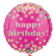 Folijski balon Happy Birthday roza 43 cm