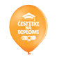 Lateks balon Čestitke na diplomi narančasti