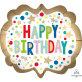 Folijski balon Happy Birthday satenski XL